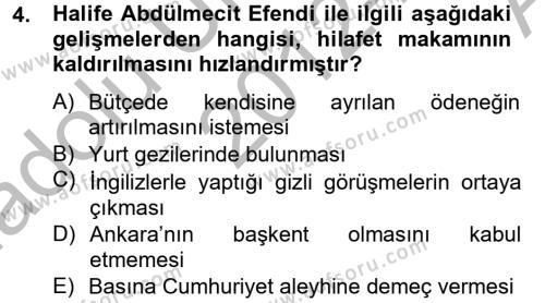 Atatürk İlkeleri Ve İnkılap Tarihi 2 Dersi 2012 - 2013 Yılı Ara Sınavı 4. Soru