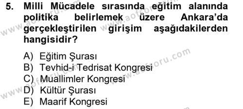 Tıbbi Dokümantasyon ve Sekreterlik Bölümü 4. Yarıyıl Atatürk İlkeleri Ve İnkılap Tarihi II Dersi 2013 Yılı Bahar Dönemi Ara Sınavı 5. Soru