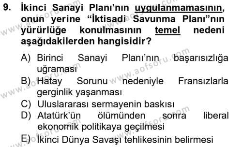 Atatürk İlkeleri Ve İnkılap Tarihi 2 Dersi Ara Sınavı Deneme Sınav Soruları 9. Soru