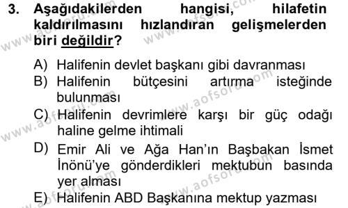 Atatürk İlkeleri Ve İnkılap Tarihi 2 Dersi 2012 - 2013 Yılı Dönem Sonu Sınavı 3. Soru
