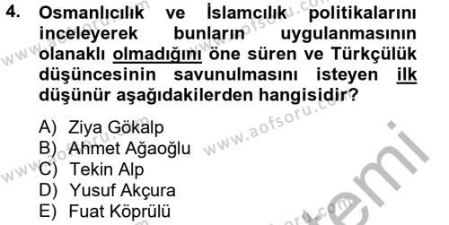 Atatürk İlkeleri Ve İnkılap Tarihi 2 Dersi 2012 - 2013 Yılı Dönem Sonu Sınavı 4. Soru