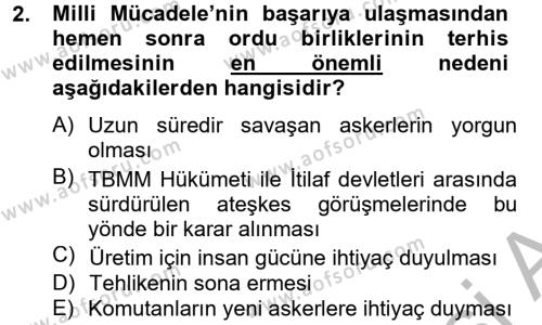Atatürk İlkeleri Ve İnkılap Tarihi 2 Dersi 2013 - 2014 Yılı Ara Sınavı 2. Soru