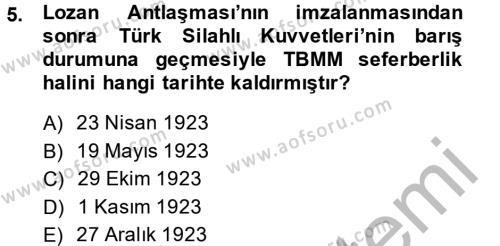 Uluslararası Ticaret ve Lojistik Yönetimi Bölümü 4. Yarıyıl Atatürk İlkeleri Ve İnkılap Tarihi II Dersi 2014 Yılı Bahar Dönemi Ara Sınavı 5. Soru