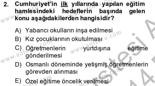 Muhasebe ve Vergi Uygulamaları Bölümü 4. Yarıyıl Atatürk İlkeleri Ve İnkılap Tarihi II Dersi 2014 Yılı Bahar Dönemi Dönem Sonu Sınavı 2. Soru