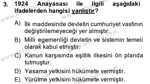 Atatürk İlkeleri Ve İnkılap Tarihi 2 Dersi 2013 - 2014 Yılı Dönem Sonu Sınavı 3. Soru