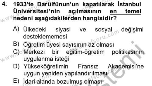 Atatürk İlkeleri Ve İnkılap Tarihi 2 Dersi 2013 - 2014 Yılı Dönem Sonu Sınavı 4. Soru