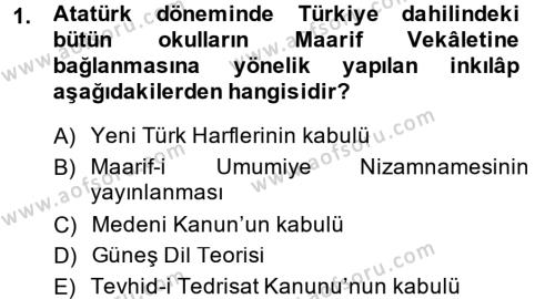 Muhasebe ve Vergi Uygulamaları Bölümü 4. Yarıyıl Atatürk İlkeleri Ve İnkılap Tarihi II Dersi 2014 Yılı Bahar Dönemi Tek Ders Sınavı 1. Soru