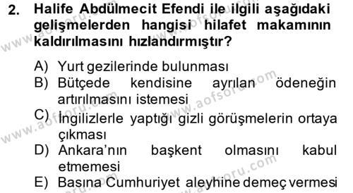Atatürk İlkeleri Ve İnkılap Tarihi 2 Dersi 2013 - 2014 Yılı Tek Ders Sınavı 2. Soru