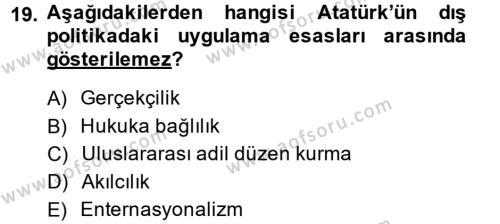 Atatürk İlkeleri Ve İnkılap Tarihi 2 Dersi Ara Sınavı Deneme Sınav Soruları 19. Soru