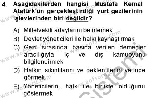 Atatürk İlkeleri Ve İnkılap Tarihi 2 Dersi 2014 - 2015 Yılı Dönem Sonu Sınavı 4. Soru