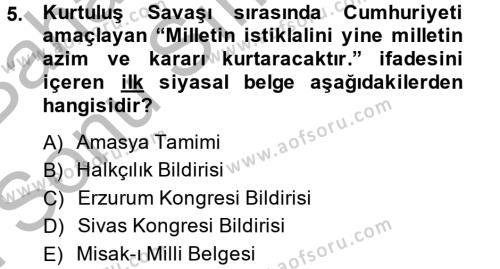Coğrafi Bilgi Sistemleri ve Teknolojileri Bölümü 4. Yarıyıl Atatürk İlkeleri Ve İnkılap Tarihi II Dersi 2015 Yılı Bahar Dönemi Dönem Sonu Sınavı 5. Soru