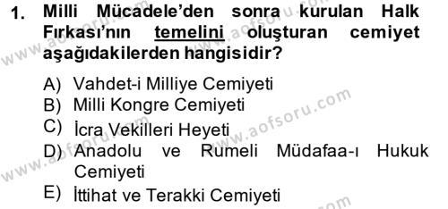 Atatürk İlkeleri Ve İnkılap Tarihi 2 Dersi 2014 - 2015 Yılı Tek Ders Sınav Soruları 1. Soru