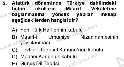 Atatürk İlkeleri Ve İnkılap Tarihi 2 Dersi 2014 - 2015 Yılı Tek Ders Sınav Soruları 2. Soru