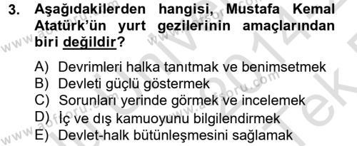 Atatürk İlkeleri Ve İnkılap Tarihi 2 Dersi 2014 - 2015 Yılı Tek Ders Sınav Soruları 3. Soru