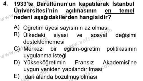 Atatürk İlkeleri Ve İnkılap Tarihi 2 Dersi 2014 - 2015 Yılı Tek Ders Sınav Soruları 4. Soru