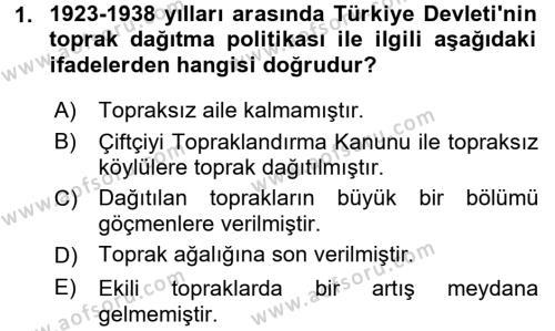 Muhasebe ve Vergi Uygulamaları Bölümü 4. Yarıyıl Atatürk İlkeleri Ve İnkılap Tarihi II Dersi 2016 Yılı Bahar Dönemi Ara Sınavı 1. Soru