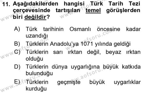 Atatürk İlkeleri Ve İnkılap Tarihi 2 Dersi Ara Sınavı Deneme Sınav Soruları 11. Soru