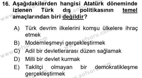 Atatürk İlkeleri Ve İnkılap Tarihi 2 Dersi Ara Sınavı Deneme Sınav Soruları 16. Soru
