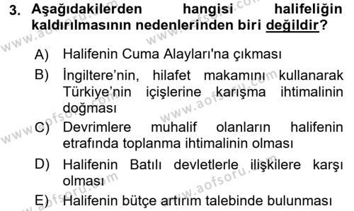 Atatürk İlkeleri Ve İnkılap Tarihi 2 Dersi 2015 - 2016 Yılı Ara Sınavı 3. Soru
