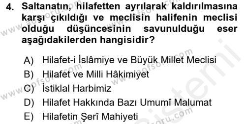 Atatürk İlkeleri Ve İnkılap Tarihi 2 Dersi 2015 - 2016 Yılı Ara Sınavı 4. Soru