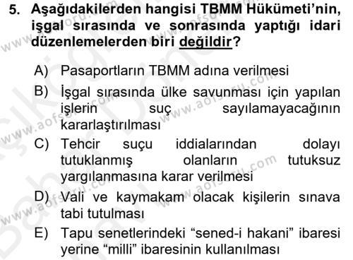 Muhasebe ve Vergi Uygulamaları Bölümü 4. Yarıyıl Atatürk İlkeleri Ve İnkılap Tarihi II Dersi 2016 Yılı Bahar Dönemi Ara Sınavı 5. Soru