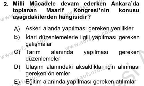 Atatürk İlkeleri Ve İnkılap Tarihi 2 Dersi 2015 - 2016 Yılı (Final) Dönem Sonu Sınav Soruları 2. Soru