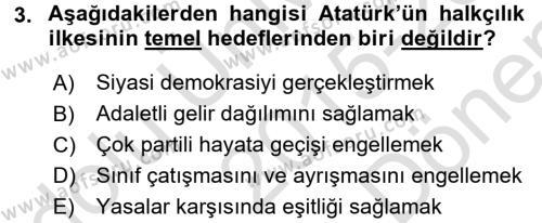 Atatürk İlkeleri Ve İnkılap Tarihi 2 Dersi 2015 - 2016 Yılı (Final) Dönem Sonu Sınav Soruları 3. Soru