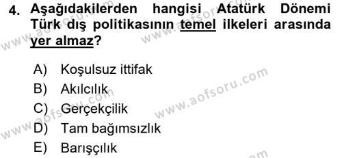 Atatürk İlkeleri Ve İnkılap Tarihi 2 Dersi 2015 - 2016 Yılı (Final) Dönem Sonu Sınav Soruları 4. Soru