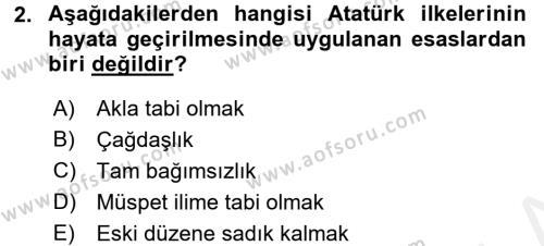 Atatürk İlkeleri Ve İnkılap Tarihi 2 Dersi 2015 - 2016 Yılı Tek Ders Sınavı 2. Soru