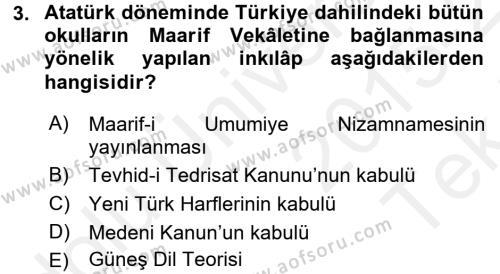 Atatürk İlkeleri Ve İnkılap Tarihi 2 Dersi 2015 - 2016 Yılı Tek Ders Sınavı 3. Soru