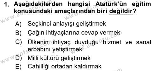 Atatürk İlkeleri Ve İnkılap Tarihi 2 Dersi 2016 - 2017 Yılı (Vize) Ara Sınavı 1. Soru