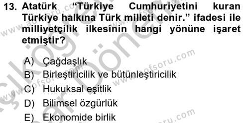 Atatürk İlkeleri Ve İnkılap Tarihi 2 Dersi Ara Sınavı Deneme Sınav Soruları 13. Soru
