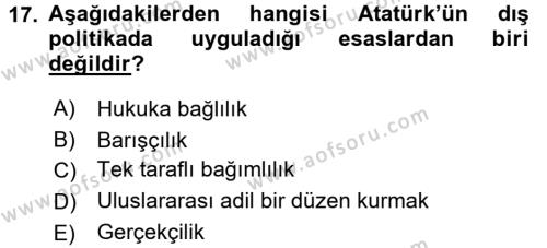 Atatürk İlkeleri Ve İnkılap Tarihi 2 Dersi Ara Sınavı Deneme Sınav Soruları 17. Soru