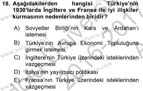 Atatürk İlkeleri Ve İnkılap Tarihi 2 Dersi Ara Sınavı Deneme Sınav Soruları 18. Soru