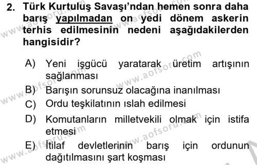 Atatürk İlkeleri Ve İnkılap Tarihi 2 Dersi 2016 - 2017 Yılı (Vize) Ara Sınavı 2. Soru