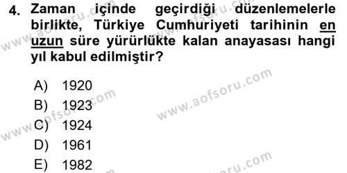 Atatürk İlkeleri Ve İnkılap Tarihi 2 Dersi 2016 - 2017 Yılı (Vize) Ara Sınavı 4. Soru