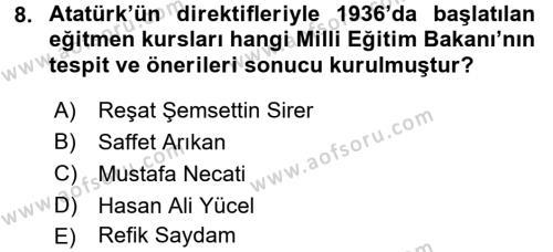 Atatürk İlkeleri Ve İnkılap Tarihi 2 Dersi Ara Sınavı Deneme Sınav Soruları 8. Soru