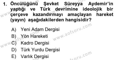 Atatürk İlkeleri Ve İnkılap Tarihi 2 Dersi 2017 - 2018 Yılı 3 Ders Sınav Soruları 1. Soru