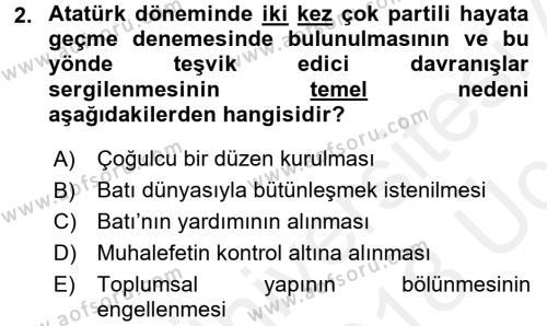 Atatürk İlkeleri Ve İnkılap Tarihi 2 Dersi 2017 - 2018 Yılı 3 Ders Sınav Soruları 2. Soru