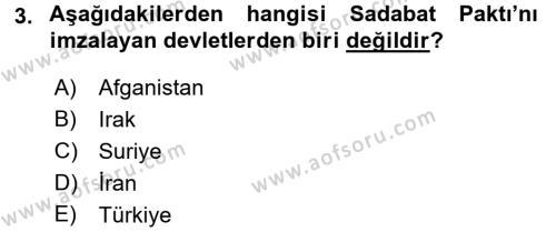 Atatürk İlkeleri Ve İnkılap Tarihi 2 Dersi 2017 - 2018 Yılı 3 Ders Sınav Soruları 3. Soru