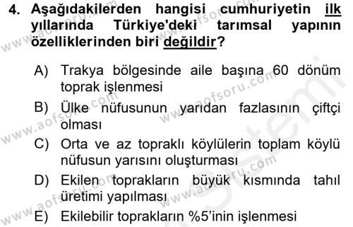 Atatürk İlkeleri Ve İnkılap Tarihi 2 Dersi 2017 - 2018 Yılı 3 Ders Sınav Soruları 4. Soru