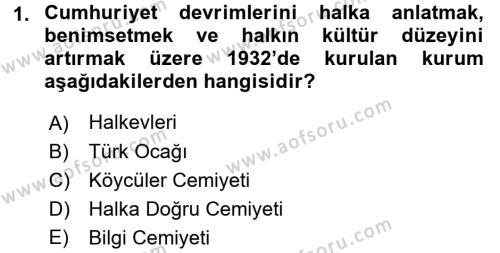 Atatürk İlkeleri Ve İnkılap Tarihi 2 Dersi 2017 - 2018 Yılı (Vize) Ara Sınav Soruları 1. Soru