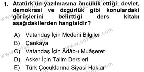 Atatürk İlkeleri Ve İnkılap Tarihi 2 Dersi 2017 - 2018 Yılı (Final) Dönem Sonu Sınav Soruları 1. Soru