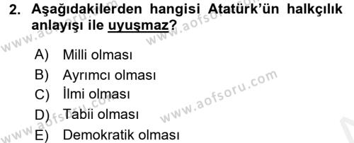 Atatürk İlkeleri Ve İnkılap Tarihi 2 Dersi 2017 - 2018 Yılı (Final) Dönem Sonu Sınav Soruları 2. Soru