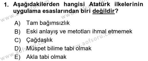 Atatürk İlkeleri Ve İnkılap Tarihi 2 Dersi 2018 - 2019 Yılı 3 Ders Sınav Soruları 1. Soru
