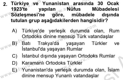 Atatürk İlkeleri Ve İnkılap Tarihi 2 Dersi 2018 - 2019 Yılı 3 Ders Sınav Soruları 2. Soru