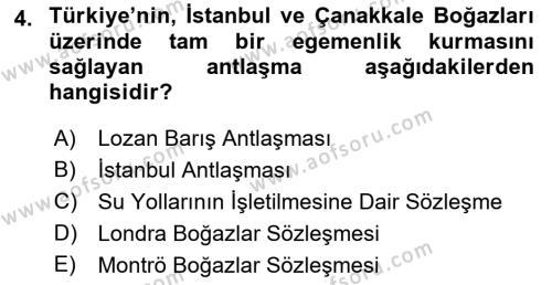 Atatürk İlkeleri Ve İnkılap Tarihi 2 Dersi 2018 - 2019 Yılı 3 Ders Sınav Soruları 4. Soru