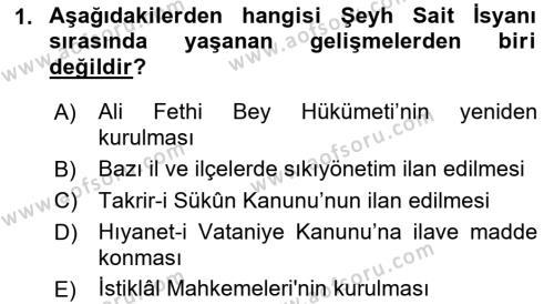 Atatürk İlkeleri Ve İnkılap Tarihi 2 Dersi Ara Sınavı Deneme Sınav Soruları 1. Soru