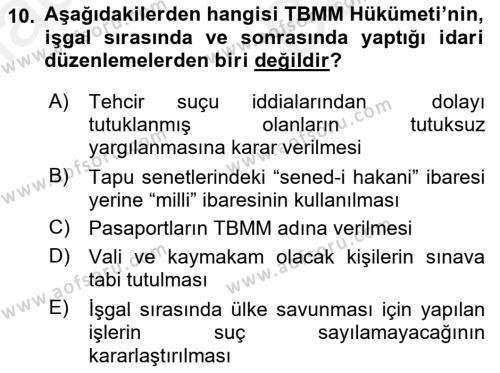 Atatürk İlkeleri Ve İnkılap Tarihi 2 Dersi Ara Sınavı Deneme Sınav Soruları 10. Soru
