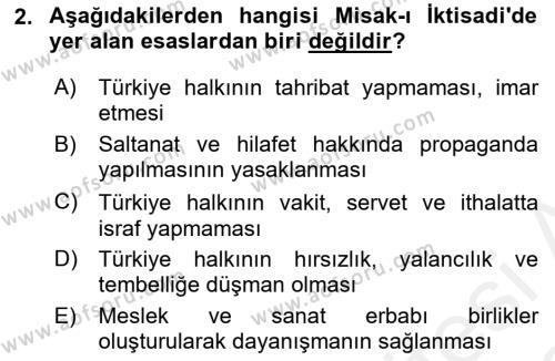 Atatürk İlkeleri Ve İnkılap Tarihi 2 Dersi Ara Sınavı Deneme Sınav Soruları 2. Soru